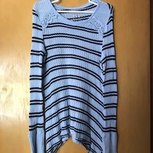 Justice blue and black sweater